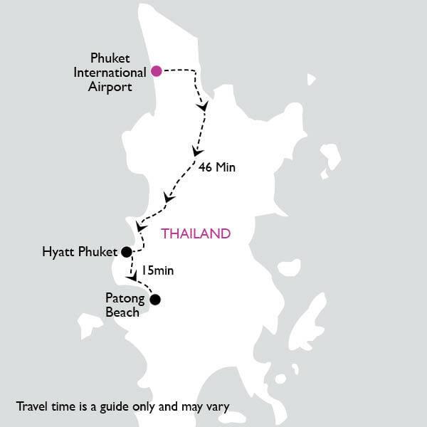 map from airport to hyatt phuket